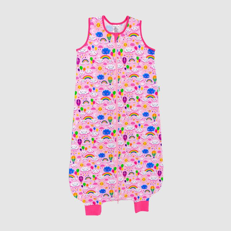 Kids-Füßchenschlafsack einlagig - RainbowsAndClouds-Pink