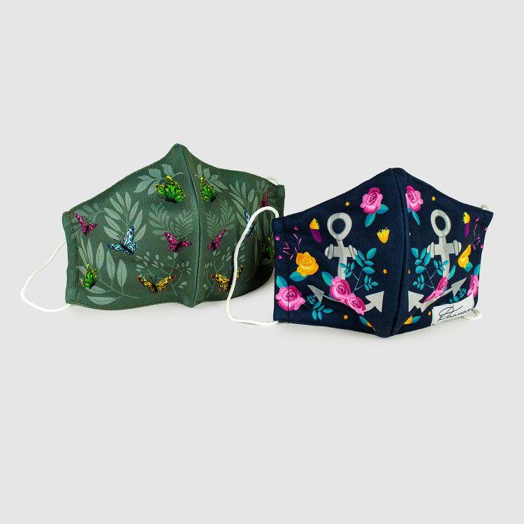 2er Set Masken für Erwachsene - DreamyButterflies/RosesAndAnchors