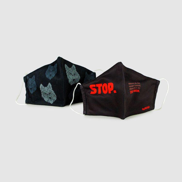 2er Set Masken für Erwachsene - BlackWolf/Stop