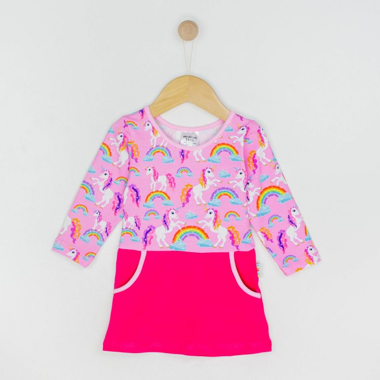 Kids-Langarm-PocketDress - SparklingUnicorns-BabyrosaEdition