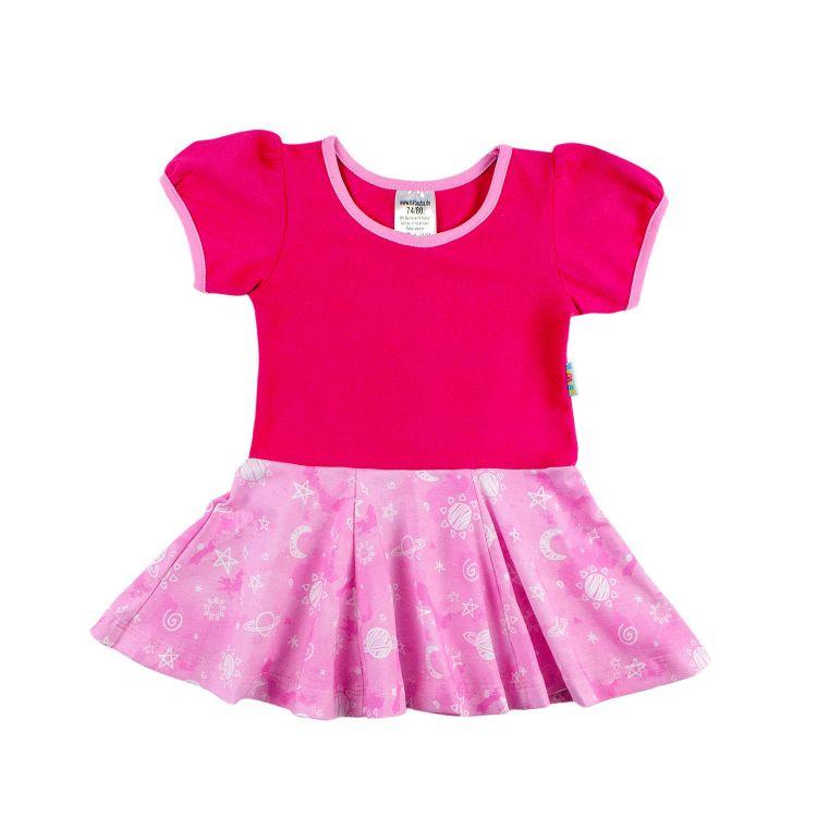 Kids-Kurzarm-Drehkleidchen - DreamyGalaxy-Pink