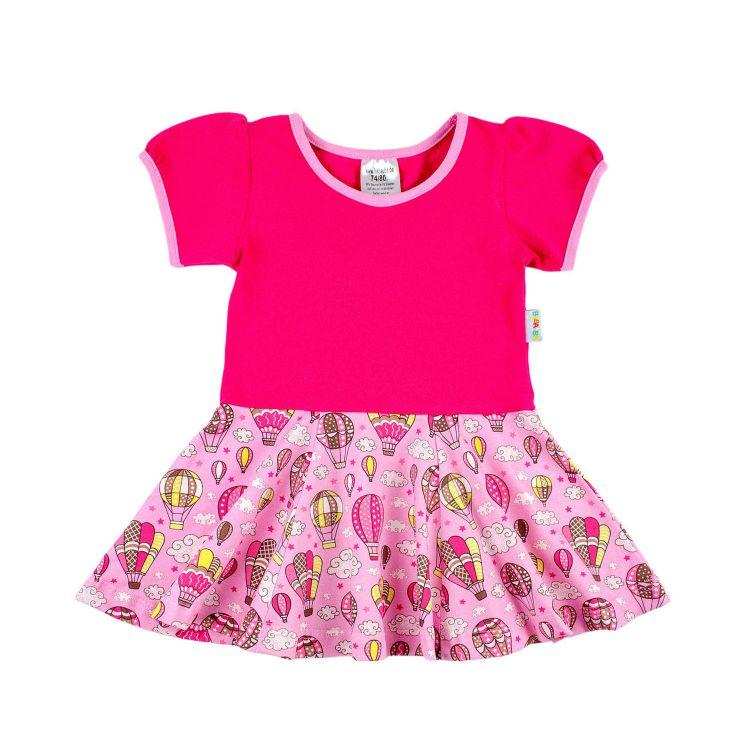 Kids-Kurzarm-Drehkleidchen - MontgolfiereBalloons-Pink