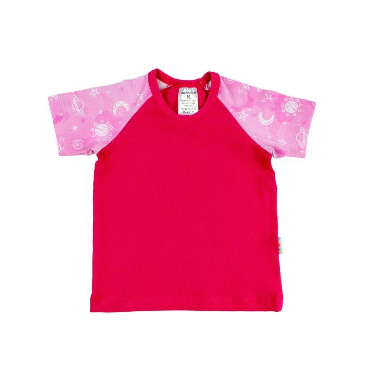Kurzarm-Raglanshirt DreamyGalaxy-Pink