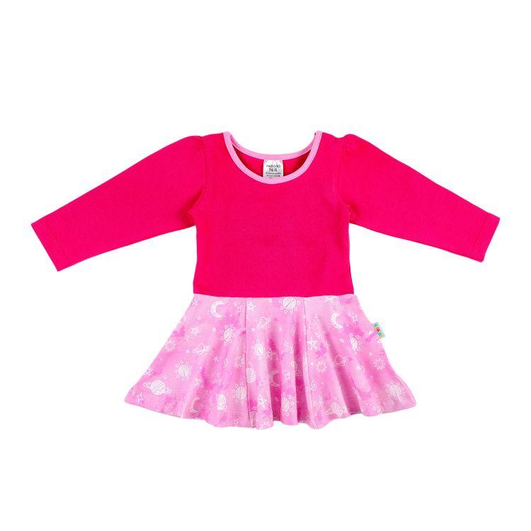 Kids-Langarm-Drehkleidchen - DreamyGalaxy-Pink