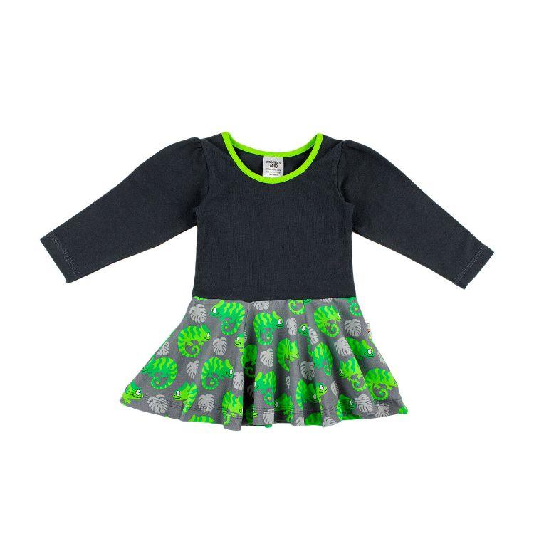 Kids-Langarm-Drehkleidchen - ExoticChameleons-Green