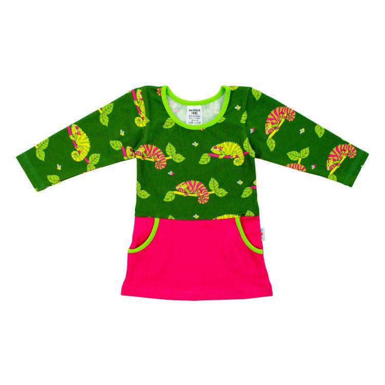 Kids-Langarm-PocketDress - ChameleonsOnTwigs-Green