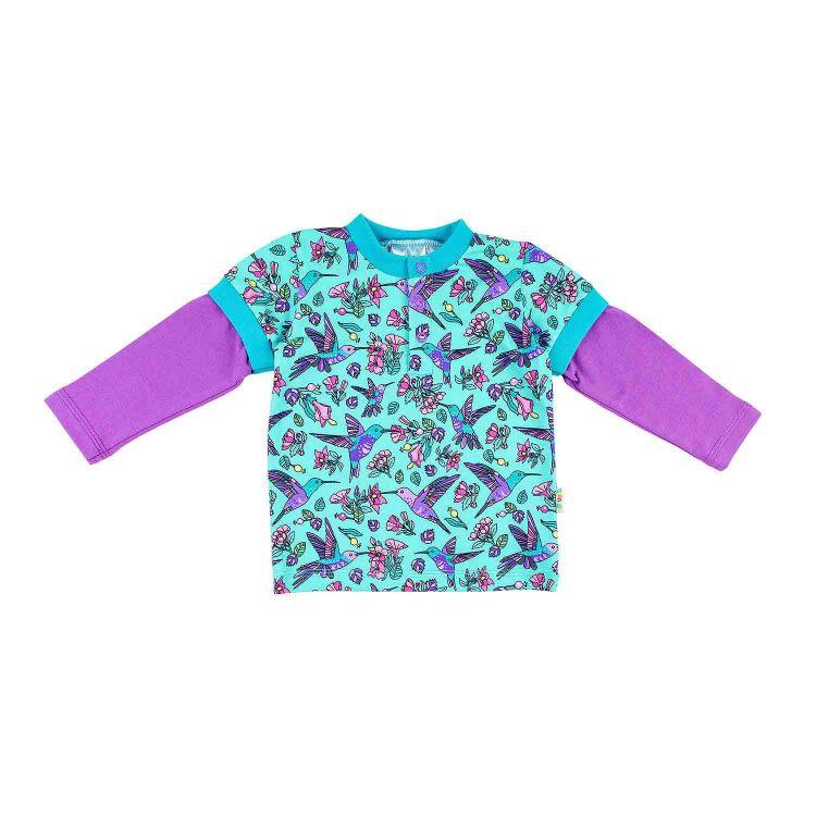 Kids-Langarm-T-Shirt - Hummingbirds-Blue-LavendelEdition