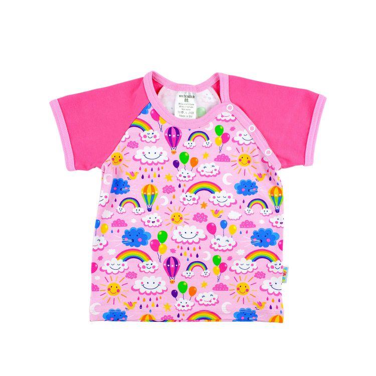 Kids-Raglanshirt-Freshstyle - RainbowsAndClouds-Pink