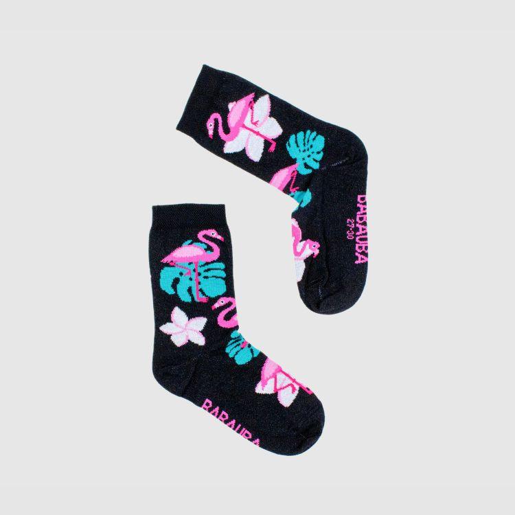 Kids-SockiSocks - LovelyFlamingos-Black