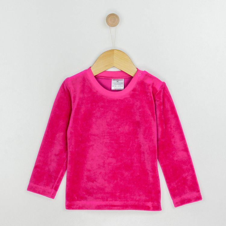Baby-Velours-Uni-Langarmshirt - Pink
