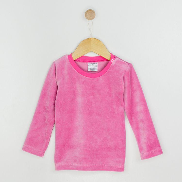 Kids-Velours-Uni-Langarmshirt - Antikrosa