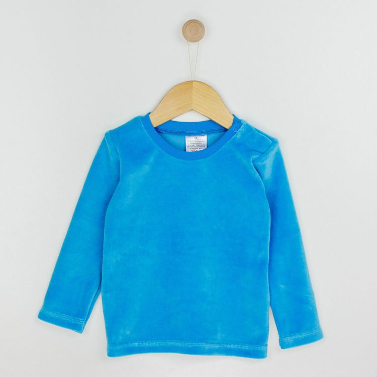 Velours-Uni-Langarmshirt Türkisblau