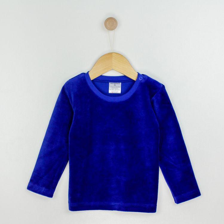 Baby-Velours-Uni-Langarmshirt - Königsblau
