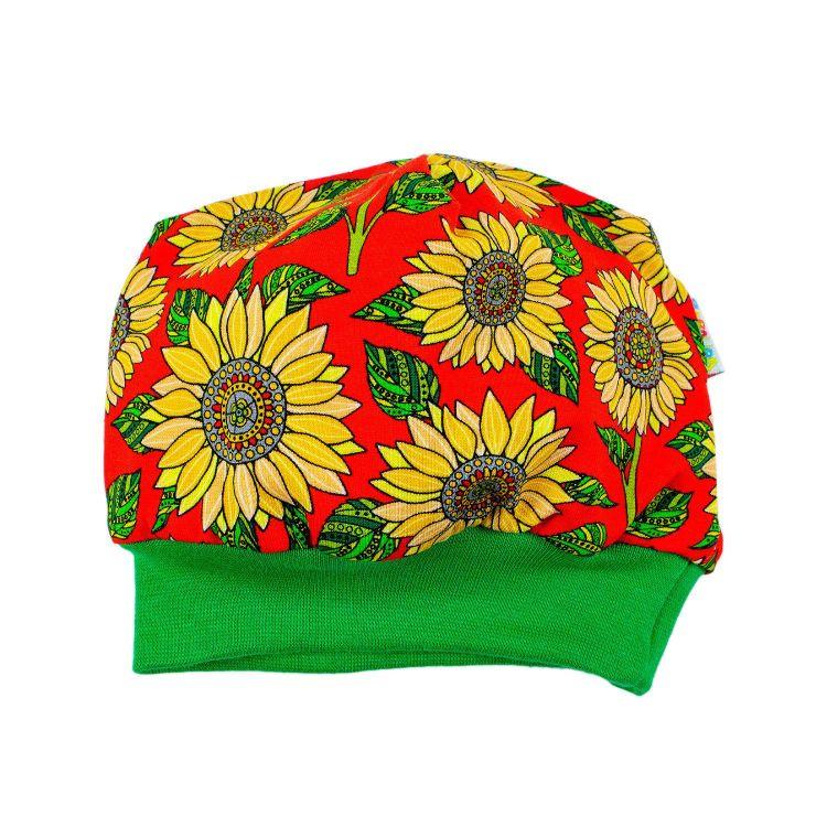 Winterbeanie Sunflowers-Red