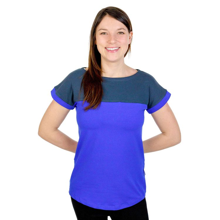 Uni-CasualWomanShirt Dunkelgrau-KönigsblauEdition