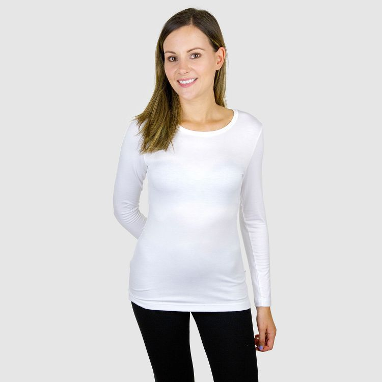 Viskose-Woman-Langarmshirt Weiß