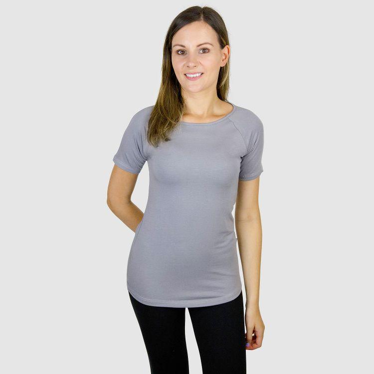 Viskose-Woman-Raglanshirt Grau