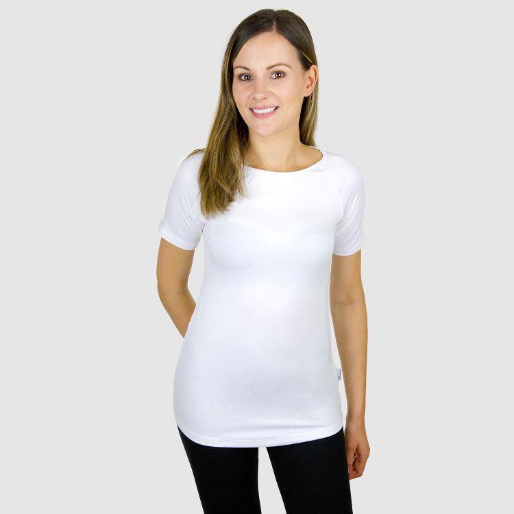 Viskose-Woman-Raglanshirt Weiß