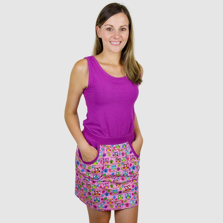 Woman-PocketDress - BabaubaHoots-Pink