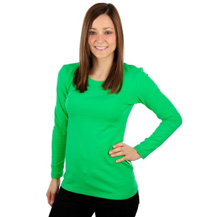 Woman-Uni-Langarmshirt Grasgrün