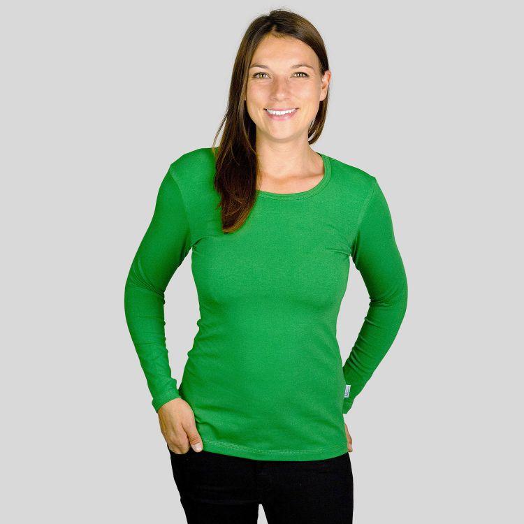 Woman-Uni-Langarmshirt Olivgrün