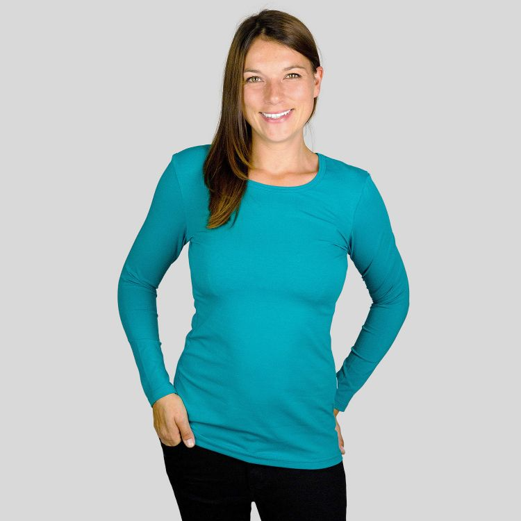 Woman-Uni-Langarmshirt Petrol