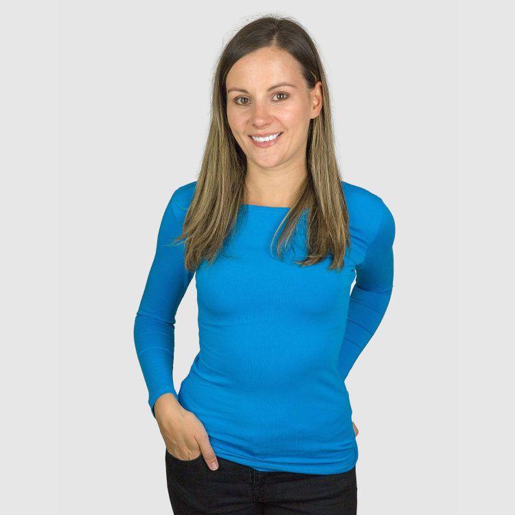 Woman-Uni-Langarmshirt Türkisblau