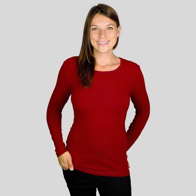 Woman-Uni-Langarmshirt Weinrot