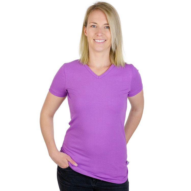Woman-V-NeckShirt Uni Lavendel