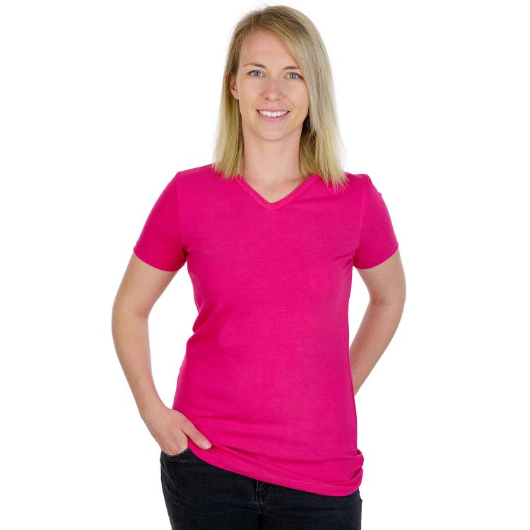 Woman-V-NeckShirt Uni Pink