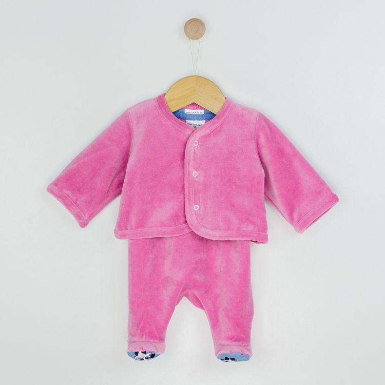 Baby-Velours-Erstlingsset - GirlyPanda-Grey