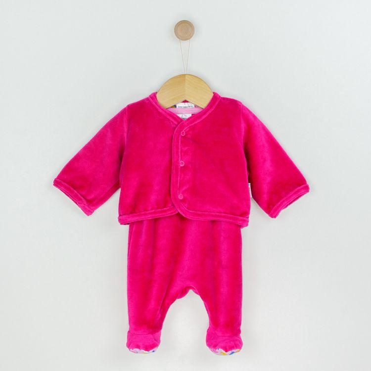 Velours-Erstlingsset RainbowsAndClouds-Pink