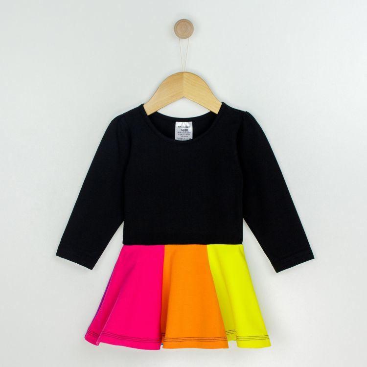 Baby-Regenbogen-Langarm-Drehkleidchen - Schwarz