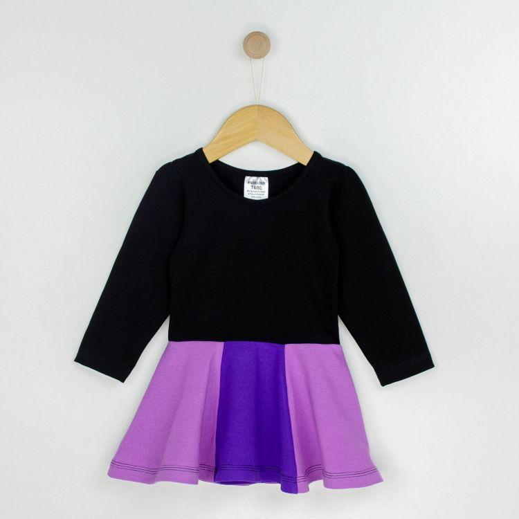 Baby-Regenbogen-Langarm-Drehkleidchen - Schwarz-LilaEdition
