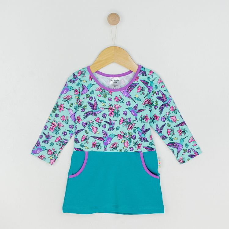 Baby-Langarm-PocketDress - Hummingbirds-Blue