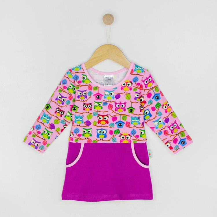 Baby-Langarm-PocketDress - BabaubaHoots-Pink