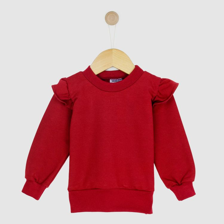 Uni-Volantsweater Weinrot