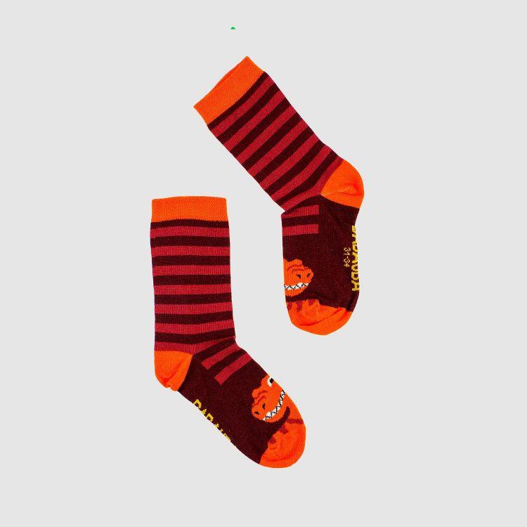 SockiSocks - BabaubaBigDinos-Brown-StripesEdition