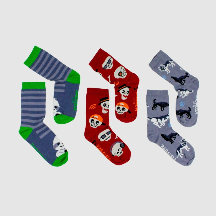 3er Set SockiSocks - Chiller-Stripes/SkullGang/Wolves