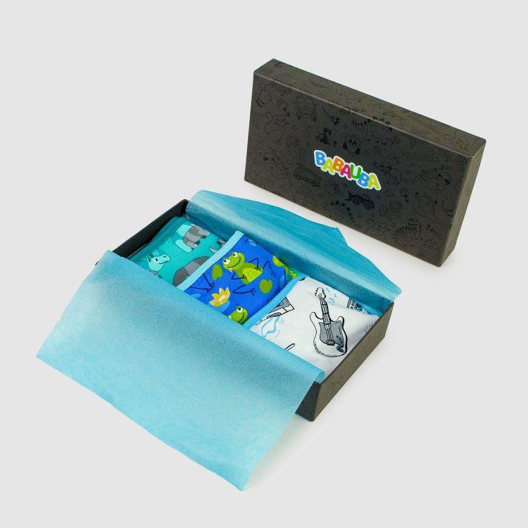 Geschenk 3er Set Kids-Underpants - Rhino-Mint/Rockstar/Frogs