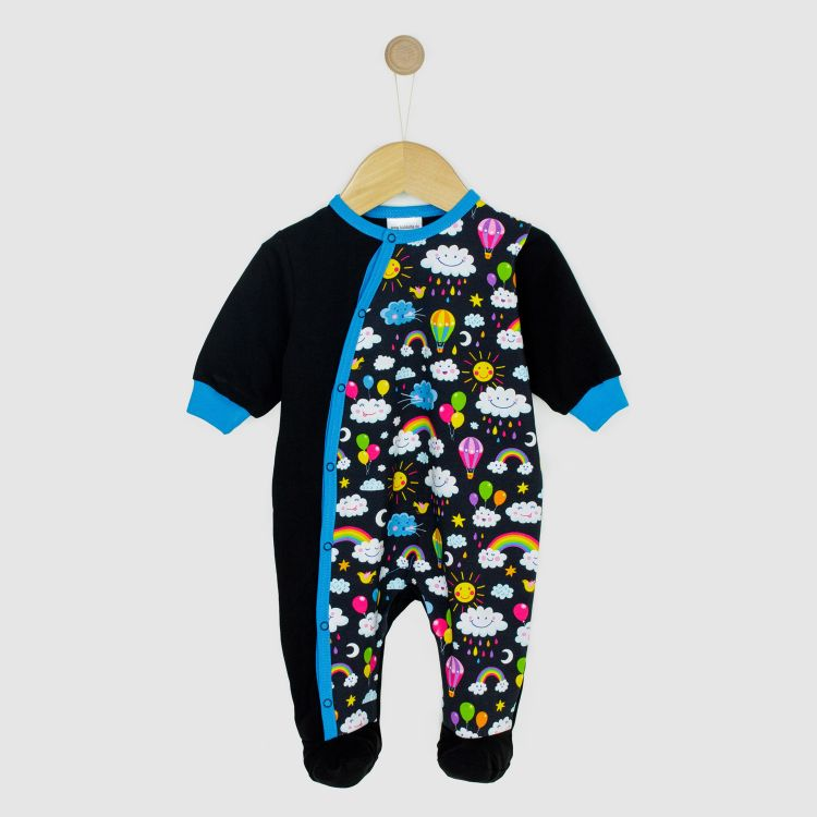 Baby-Strampler-Pepstyle - RainbowsAndClouds-Black