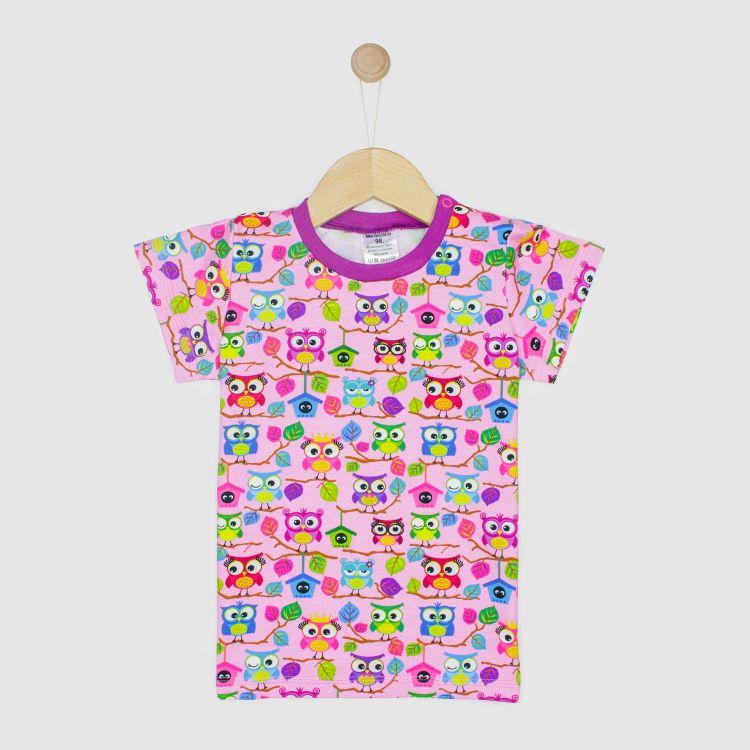 Kids-T-Shirt - BabaubaHoots-Pink