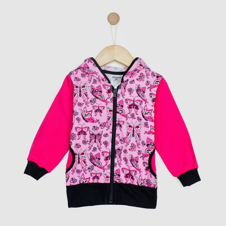 Kids-HoodieH1 - PrettyButterflies-PinkAndBlack