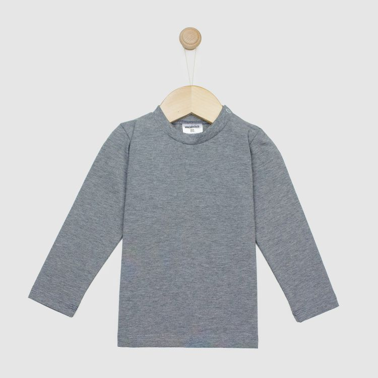 Baby-Uni-Langarmshirt - Dunkelgrau-Meliert