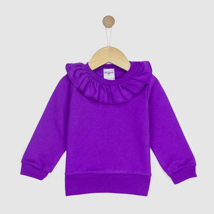 Uni-Sweater mit Volantkragen Lila