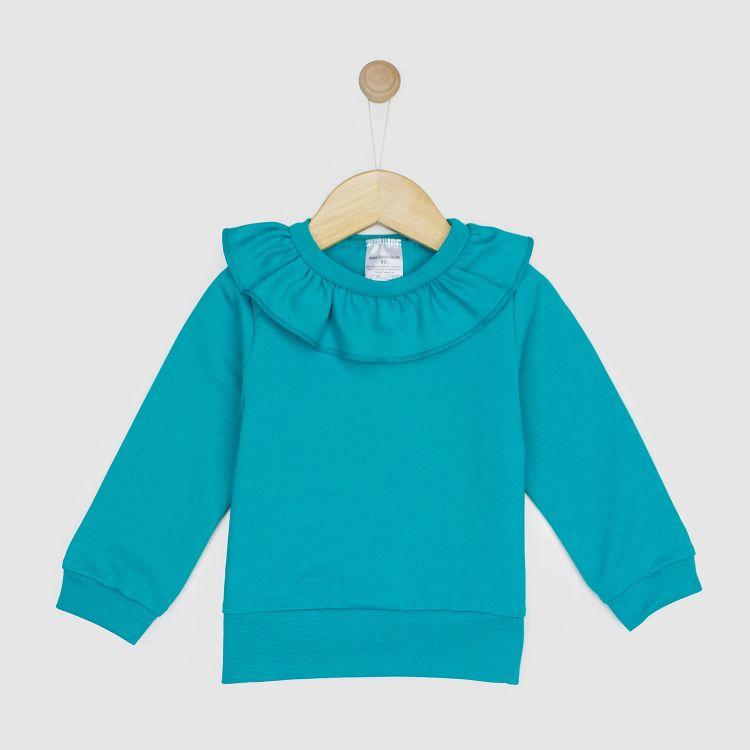 Uni-Sweater mit Volantkragen Petrol 86