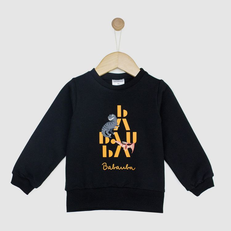 Kids-Sweater - BabaubaBigDinos-Brown