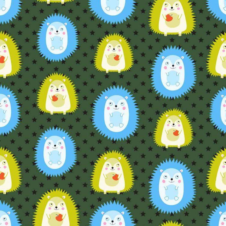 BabaubaStoffe 2.0 - CutieHedgehogs-Green