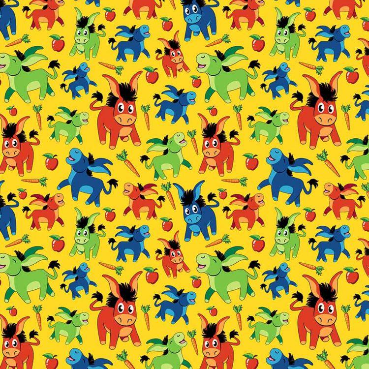 BabaubaStoffe 2.0 - HappyFunnyDonkeys-Yellow
