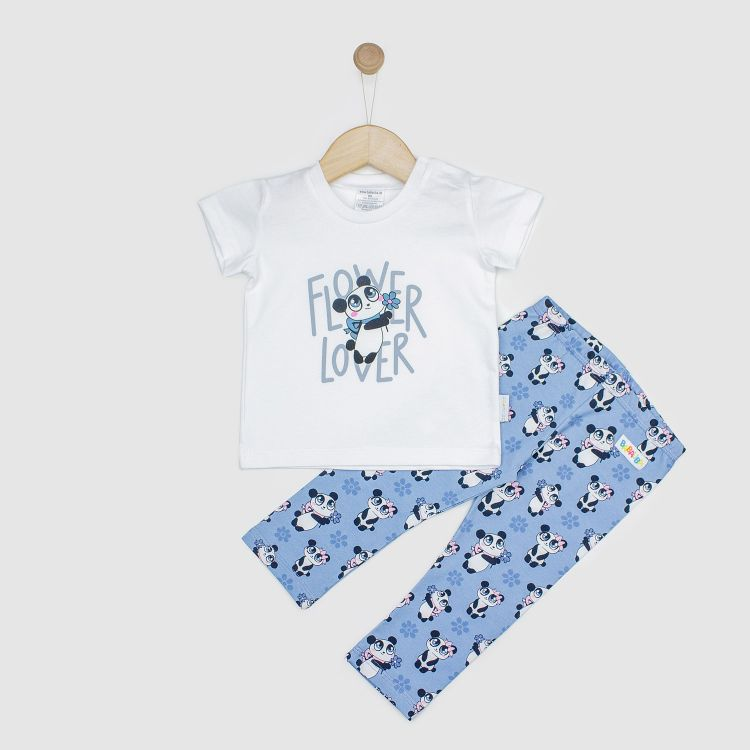 Kids-Kurzarm-Hero-Set - GirlyPanda-Grey